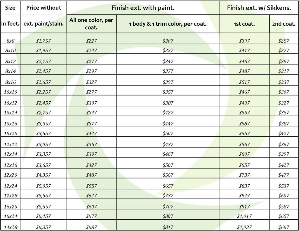 price sheet 5